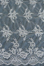 beautiful flower embroidery lace fabric with cord