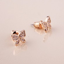 2015 unique selling classic butterfly shape copper earrings zircon