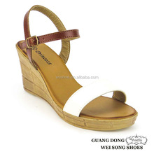 PVC outsole ankle strap open toe simple vamp design elegant wedge heel shoes