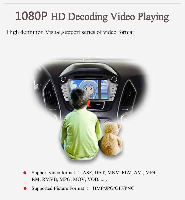 радостный: 7' дюймовый 2 din автомобиль dvd gps ПК для ix35 hyundai Радио, bt, руль управления, atv, ipod и Wi-Fi / 3g функции поддержки