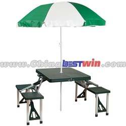2015 New Design Portable Outdoor Camp Table With Umbrella and Seat