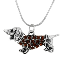 alloy antique silver plated crystal dachshund dog pendant link chain shiny cute pet dog jewelry men