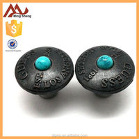 Button center blue Ball Black metal jeans button
