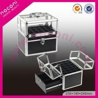 2015 Noconi Black Aluminum Acrylic Nail Polish Organizer Makeup Case/ Beauty Cosmetic Cases