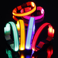factory price nylon led hands free dog retractable dog collar mixed colors collar for dog/cat/pet TB018