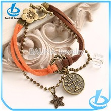 Fashion alloy beads double leather chain antique gold handmade bracelet
