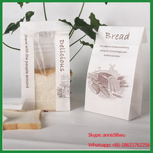 custom logo or design white kraft paper bag with window for bakery shop