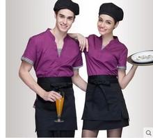 Hotel uniform false two summer Hotel Coffee shop restaurant catering waiter work wear short sleeved men and women