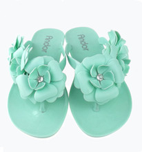 2015 Brazil jelly sandals with jelly flower upper strap