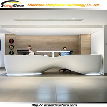 Materpiece shoe shape solid surface/man-made stone reception counter white