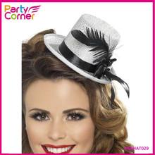 Burlesque Silver Felt Mini Top Hat For Hen Party