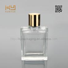 good transparent glass bottle perfume with golden cap