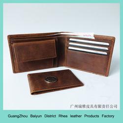 Cowboy Genuine Natural Crazy Horse Leather Bifold Wallet