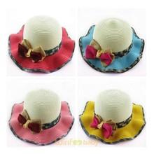 baby kids children rippled Brim Straw Hat Cap Summer Beach Sun Hat Cap Floppy Foldable Cap