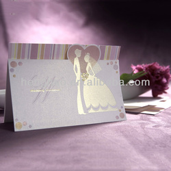 Free sample newest favorable price bride and groom wedding invitation card
