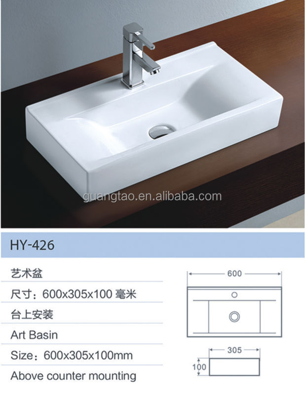 bathroom products chaozhou art sink long size rectangular table top ...