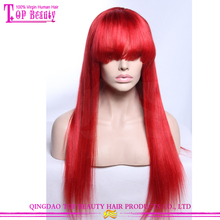 Top Beauty Hair Brand Wholesale Long Red Human Hair Lace Wigs