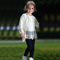 Fashion Icream Girl Tees With Long Sleeve And Lace Border Wholesale Girls Tops GT80720-5