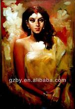 2014 Hot Selling Oil Painting,Beautiful Indian Women Picture on Canvas