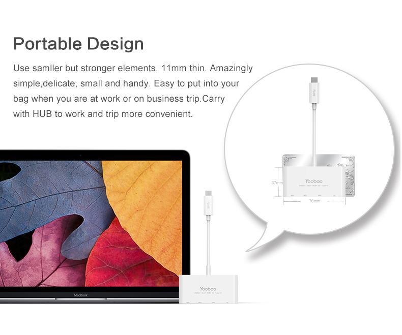 YOOBAO USB-C charger adapter 4 ports Type C USB 3.1Hub USB type c man hub USB 3.1 cable
