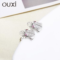 OUXI frog shaped cute 925 sterling silver earring for girls Y20069