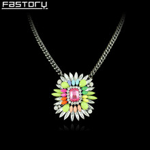 Fashion Acrylic Crystal Flower Pendant Necklace With Simple Gun Black Plated Long Chain Colorful Rhinestone Pendant Necklace