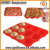 12 holes eco-friendly mini round non-stick silicone muffin pan,easy bake cake mold , microwave oven cake pan