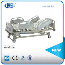 China supplier three function manual medical hospital bed hand operated hospital bed manual bed with abs headboard