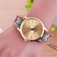 Beautiful new style national wind knitting pink wool ladies chain watch