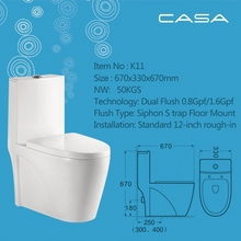 Ceramic toilet with soft close seat cover simple design of the one piece toilet