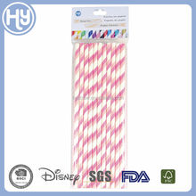 lovely pink paper drinking straw set for party decoraton