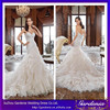 2015 Latest New Fashion Sweetheart Applique Beaded Ruffle Skirt Fantasy Organza Mermaid/Trumpet Long Train Wedding Gown Tie Back