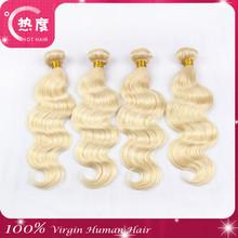 Natural looks cheap virgin body wave human hair #613 hair grade 7A shedding and tangle free