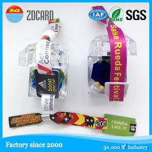 Factory direct sale new customized woven access control bracelets,party wristbands with plastic lock