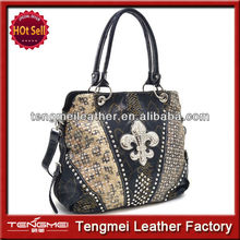High Quality Western Cowgirl Rhinestone Studded Fleur De Lis Bling Purse Tote Bag