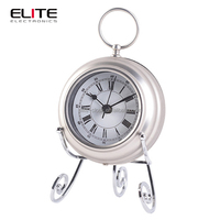 Quartz metal table clock with metal wire stand