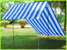 blue and white strip sun shelter camping cheap folding beach tent
