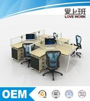 hot sale modern melamine 4 seat L shape office workstation desk