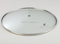 Tempered green color glass cookware cover with stainless steel ring
