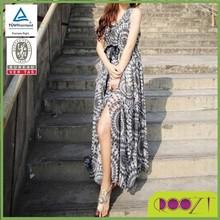 2015 new style OEM service printed long dress design lady chiffon traditional moroccan dress