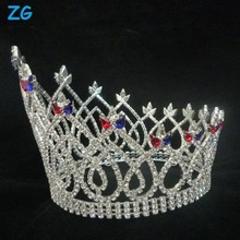 Gorgeous full round beauty pageant crowns, head accessories for brides with red and blue crystal