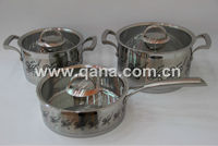 6 pieces colorful flower inox stainless steel cookware set