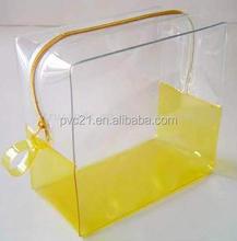 2015 Popular in Europe REACH standard Clear PVC plastic zipper bag for cosmetic