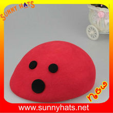 Wholesale Beautiful Girl's Red 100% Wool Felt Beret Cap Decorate Cute Black Dot