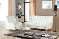 Top quality white leather buttons sofa