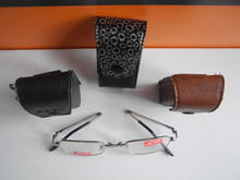 hotsale portable mens folding reading glasses with leather case
