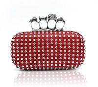 High-end fashion! crystal clutch bag, skull ring party purse