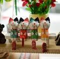 madera nórdica de adornos de mezclilla de pesca mini animales gato regalo regalos c1412