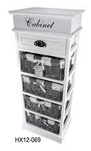 white wooden cabinet with open top / wooden cabinet with4 wicker baskets /wooden storage furniture