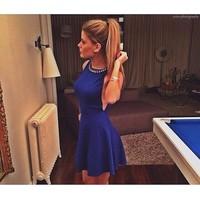 женщины лето партия платья Мода повязку платье синий клуб сексуальное платье lq4675